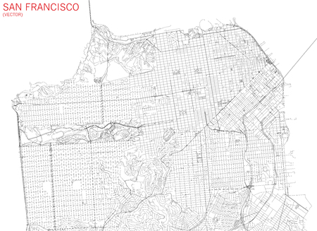 Map of San Francisco, satellite view, streets and highways, US Illustration