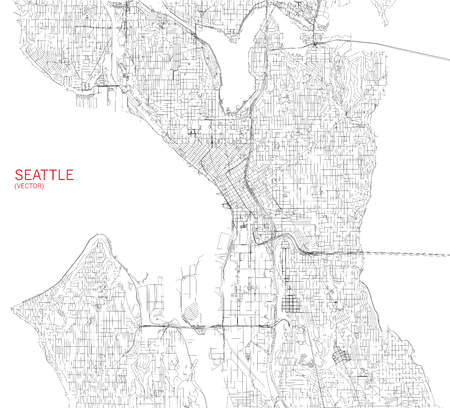 Map of Seattle, satellite view, streets and highways, USa Illustration