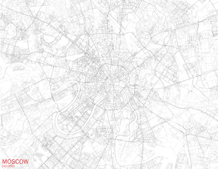 Map of Moscow, satellite view, streets and highways, Russia 向量圖像