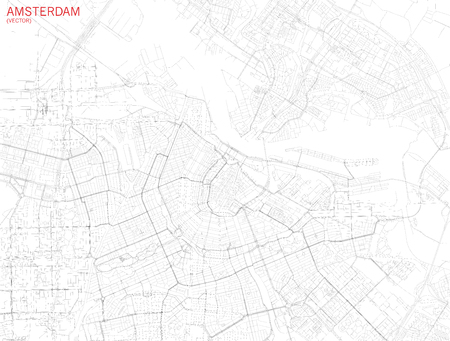 Map of Amsterdam, satellite view, streets and highways, Netherland