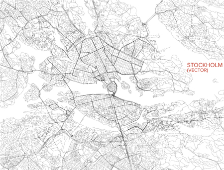 Map of Stockholm, satellite view, streets and highways, Sweden Vettoriali