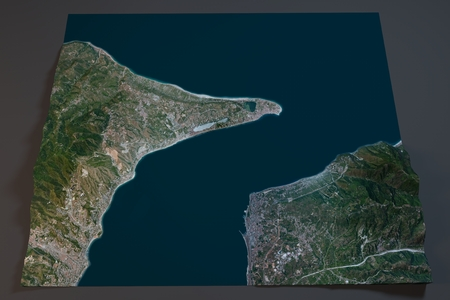 satellite view: Strait of Messina, satellite view, Sicily and Calabria, Italy. Element of this image are furnished by NASA