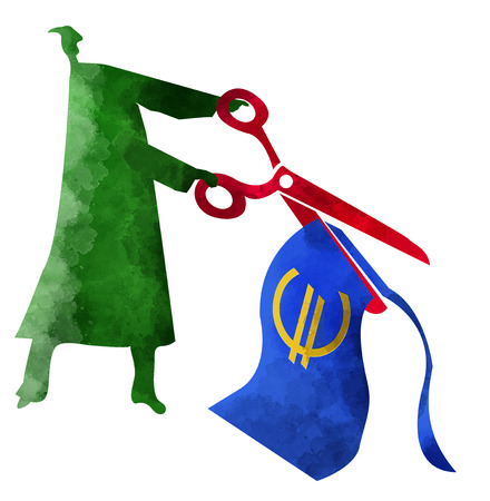 Person with scissors in his hands, cutting a euro banknote, stylized silhouette of a person with scissors cutting a banknote