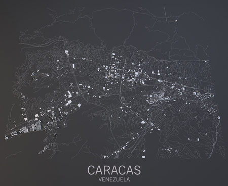 satellite view: Caracas map, satellite view, Venezuela, Central America