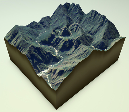 satellite view: Section of Machu Picchu Peruvian site, satellite view, Peru. 3d illustration, element of this image is furnished by NASA
