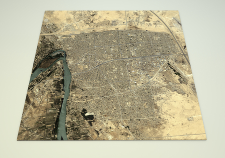 satellite view: Fallujah map, satellite view, aerial view, 3d rendering, Iraq Stock Photo