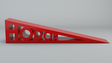 written: Doorstop wedge-shaped, with written Hodor, 3d rendering