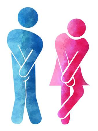 Bathroom man and woman sign, symbol toilet Stockfoto