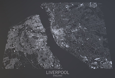 satellite view: Liverpool map, satellite view, England, 3d rendering