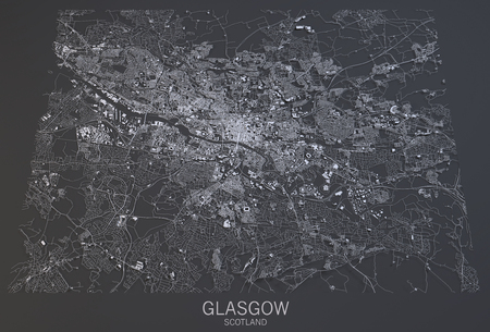 satellite view: Glasgow map, satellite view, Scotland, 3d rendering Stock Photo