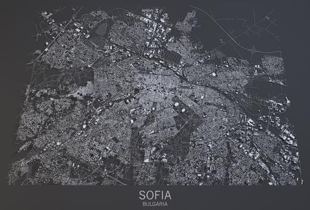 sofia: Sofia map, satellite view, Bulgaria