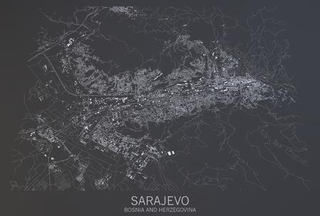 Sarajevo map, satellite view, Bosnia and Herzegovina, 3d rendering