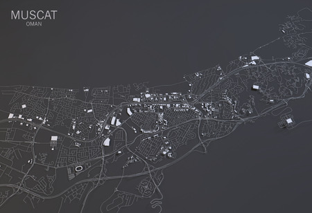 satellite view: Muscat map, satellite view, Oman, 3d rendering