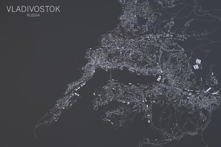 satellite view: Vladivostok map, satellite view, Russia, 3d rendering