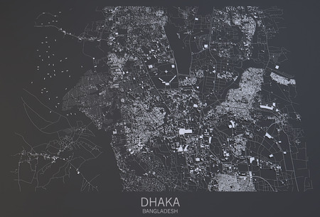 satellite view: Satellite view of the city of Dhaka in Bangladesh, 3d reconstruction