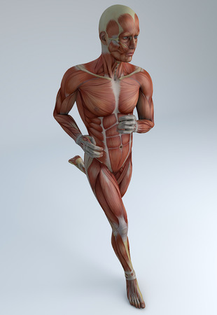 3d person: 3d person running with muscles Stock Photo