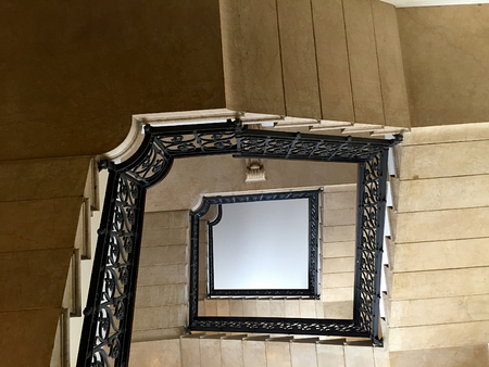 handrails: Stairs of an ancient building, steps, handrails and window Stock Photo