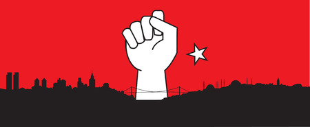 coup: Silhouette of Istanbul, Turkish city, closed fist, turkey. Coup detat
