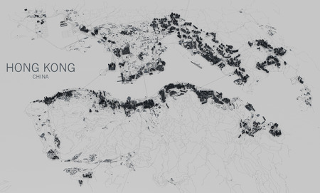 satellite view: Satellite view of the city of Hong Kong, China, 3d reconstruction