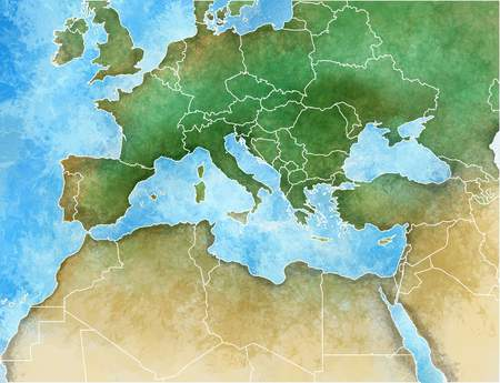 Hand-drawn map of the Mediterranean, Europe, Africa and Middle East Stok Fotoğraf