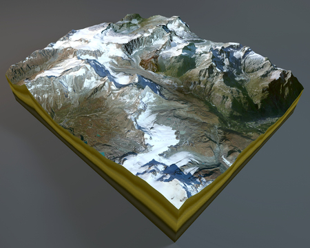 satellite view: Matterhorn, mountain, satellite view, Alps, Italy, Switzerland. 3d rendering.