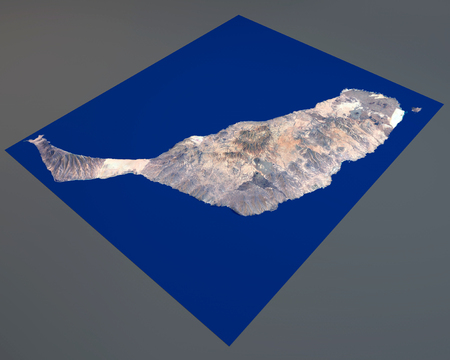 satellite view: Fuerteventura island, satellite view, Canary Islands, Spain. 3d rendering. Stock Photo