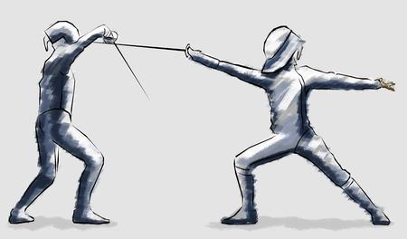 fencing: Fencing, fencers race, combat encounter