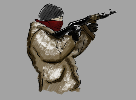 undercover agent: Fighter with rifle, in the act of shooting, hand drawn