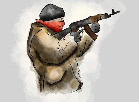 warlords: Fighter with rifle, in the act of shooting, hand drawn