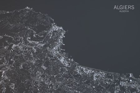 satellite 3d: Algiers map, satellite view, city, Algeria, 3d rendering Stock Photo