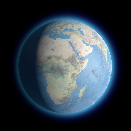 earth from space: Earth standing on dark space. Africa space view