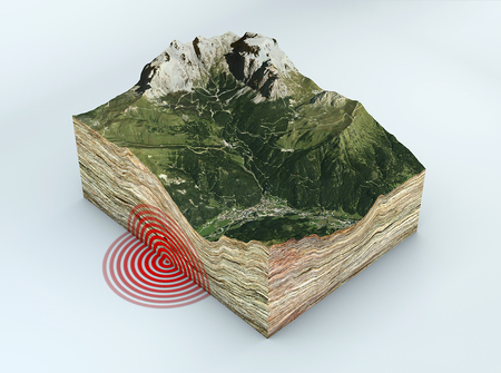 Earthquake ground section, shake, earthquake, elements of this image are furnished by NASA. 3d rendering