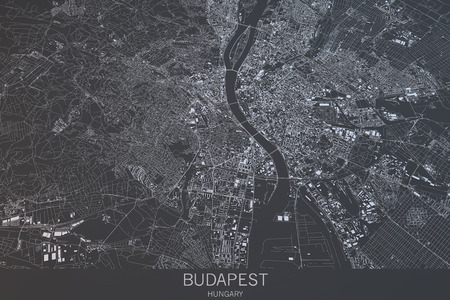 Budapest map, satellite view, city, Hungary. 3d rendering Stock Photo