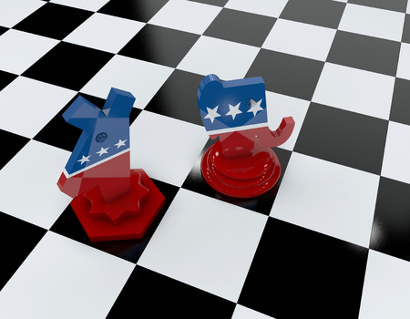 Republican and democratic symbol in the shape of chess piece, US presidential elections