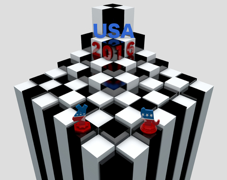 presidential: Republican and democratic symbol in the shape of chess piece, US presidential elections