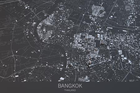 Bangkok map, satellite view, city, Thailand. 3d rendering