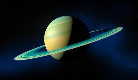 planeta Saturno con los anillos. Opinión del espacio. Foto de archivo