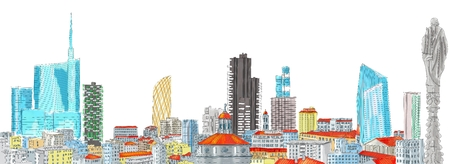 pirelli: New skyline of Milan, freehand drawing. The Diamond Tower and skyscrapers, Torre Solaria, Unicredit Tower, Italy