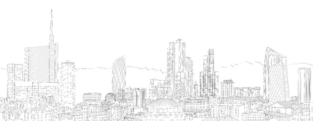 pirelli: New Milan skyline, from the Cathedral spire (Began construction in 1386), to the new skyscrapers. Freehand drawing. The Diamond Tower and skyscrapers, Torre Solaria, Unicredit Tower, Italy Stock Photo