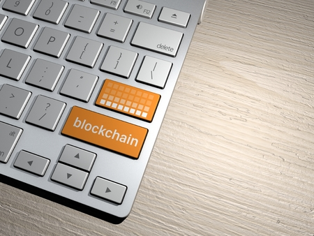 violated: Computer keyboard, the search button. search engine, Blockchain, cryptocurrency, distributed database, transitions Stock Photo