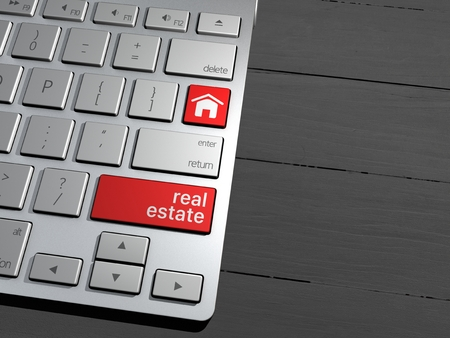 press agent: Computer keyboard, the search button. Search Engine, Real estate, property sales. 3d rendering Stock Photo