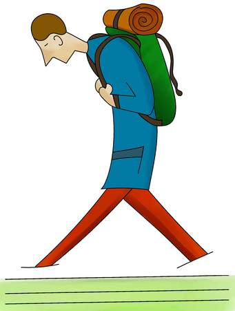 Man walking with a backpack and sleeping bag. Hand drawn. Travel