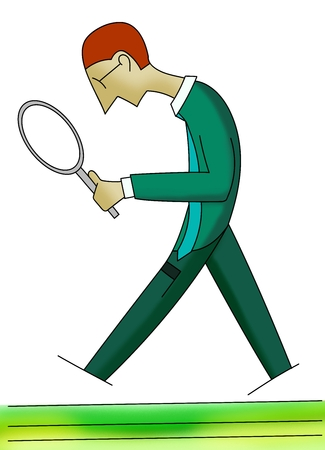 vision loss: Man walking with a magnifying glass. Unemployed, job search. Hand drawn. search