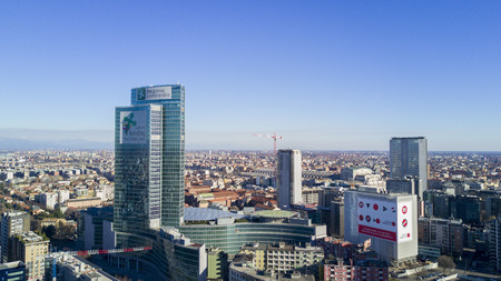 pirelli: Aerial view of Palazzo Lombardia, Milan, Porta Nuova skyscraper. Lombardy region, headquarters of the Regional Council of Lombardy, the square city of Lombardy. Italy Editorial