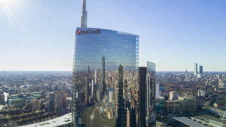 Aerial view of Unicredit Tower, Piazza Gae Aulenti, Milan, Italy. 06012017. Unicredit Tower, the tallest skyscraper in Italy.