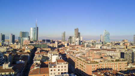 Aerial view of the center of Milan, panoramic view of Milan, Porta Nuova residences and skyscrapers, Italy, Jan. 6, 2017. New Milan skyline, aerial view from Brera District