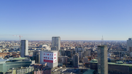 pirelli: Aerial view of the center of Milan, panoramic view of north east side of Milan, Italy, Jan. 6, 2017. New Milan skyline, aerial view from Porta Nuova Editorial