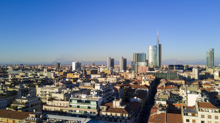 Aerial view of the center of Milan, panoramic view of Milan, Porta Nuova residences and skyscrapers, Italy, Jan. 6, 2017. New Milan skyline, aerial view from Porta Nuova and the Island District. Milan aerial view of 360 degrees. Buildings houses roofs and
