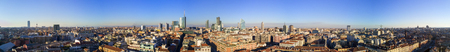 Aerial view of 360 degrees of the center of Milan, Unicredit Tower, Palazzo Lombardia, Torre Solaria, Diamond Tower, Milan, Italy, Jan. 6, 2017. New Milan skyline, from the Brera District 360 degrees Stock Photo
