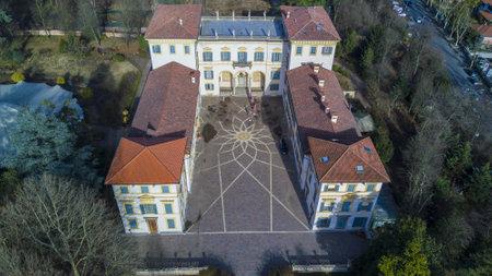 accommodating: Villa Borromeo, 01.14.2017, Senago, Italy. Aerial view of the Villa Borromeo. Ancient home of the XIV century surrounded by a park